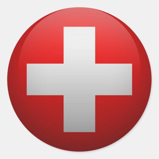 Sticker Rond Drapeau de la Suisse.