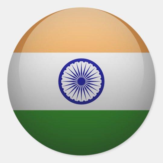 Sticker Rond Drapeau de l'Inde
