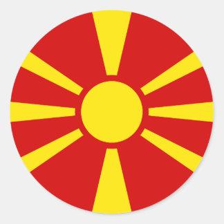 Sticker Rond Drapeau de Macédoine