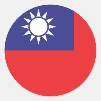 Sticker Rond Drapeau de Taïwan