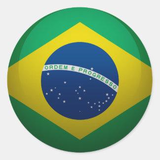 Sticker Rond Drapeau dU Brésil