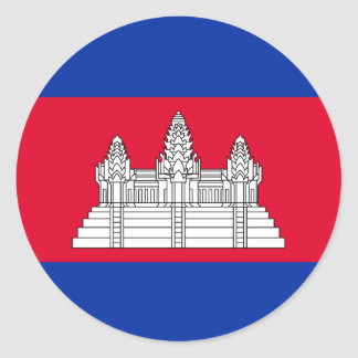 Sticker Rond Drapeau du Cambodge