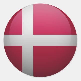 Sticker Rond Drapeau du Danemark