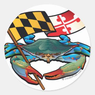 Sticker Rond Drapeau du Maryland de crabe bleu