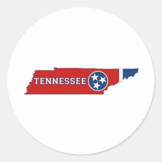 Sticker Rond Drapeau et carte d'état du Tennessee