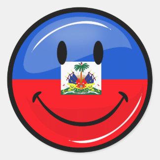 Sticker Rond Drapeau haïtien de sourire de rond brillant