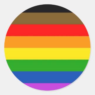 Sticker Rond Drapeau inclus de fierté de LGBT
