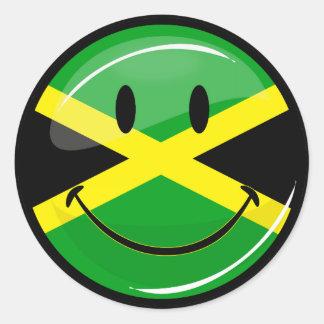 Sticker Rond Drapeau jamaïcain de sourire