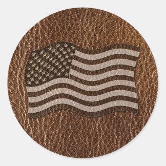 Sticker Rond Drapeau simili cuir des Etats-Unis