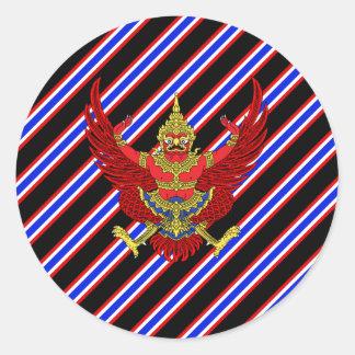Sticker Rond Drapeau thaïlandais de rayures