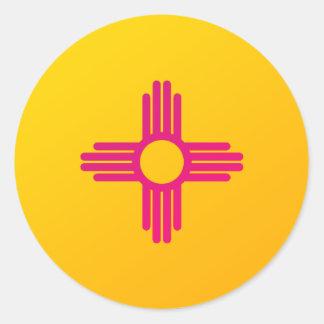 Sticker Rond Drapeau Zia Sun d'état du Nouveau Mexique