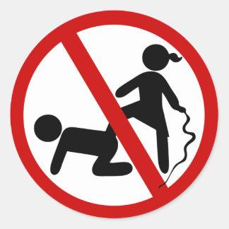 Sticker Rond Drôle AUCUN ⚠ thaïlandais de signe de ⚠ de Femdom