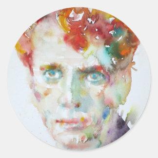 Sticker Rond Dylan Thomas - aquarelle portrait.1