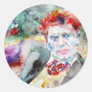 Sticker Rond Dylan Thomas - aquarelle portrait.2