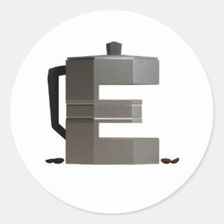 Sticker Rond E est pour le café express