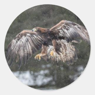 Sticker Rond Eagle dans la neige