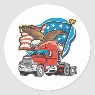 Sticker Rond Eagle de camionnage