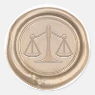 Sticker Rond Échelle d'or d'avocat de joint de cire de cabinet