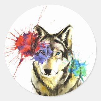 Sticker Rond Éclaboussure de loup