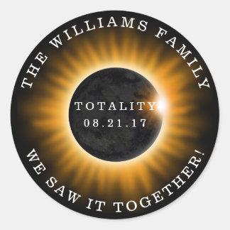 Sticker Rond Éclipse solaire de totalité de famille