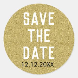 Sticker Rond Économies chiques de parties scintillantes d'or la