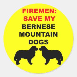 Sticker Rond Économies de pompier mes chiens de montagne de