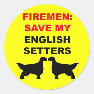 Sticker Rond Économies de pompier mes poseurs anglais