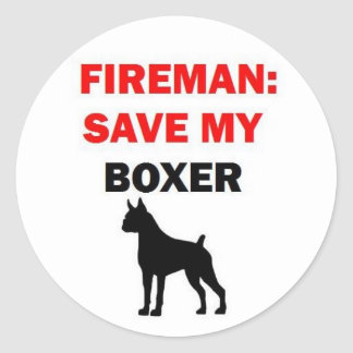 Sticker Rond Économies de pompier mon boxeur
