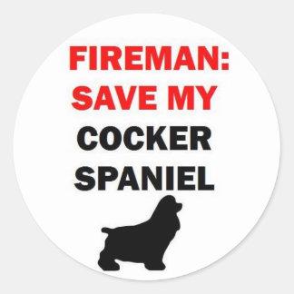 Sticker Rond Économies de pompier mon chien de cocker