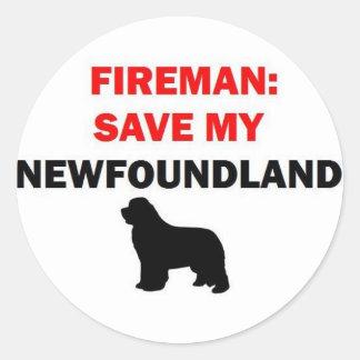 Sticker Rond Économies de pompier mon chien de Terre-Neuve