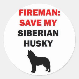Sticker Rond Économies de pompier mon chien de traîneau