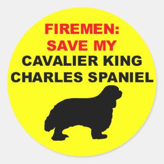 Sticker Rond Économies de pompier mon épagneul cavalier du Roi