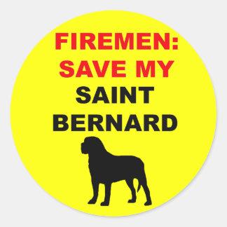 Sticker Rond Économies de pompier mon St Bernard