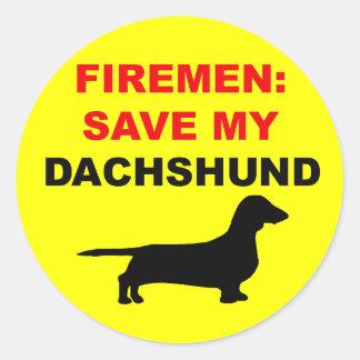 Sticker Rond Économies de pompier mon teckel