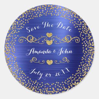 Sticker Rond Économies d'or de scintillement de confettis le