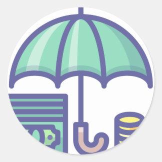 Sticker Rond Économiser pendant un jour de pluie