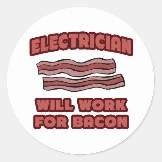 Sticker Rond Électricien. Travaillera pour le lard