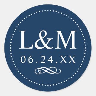 Sticker Rond Élégance de classique de marine du monogramme   de