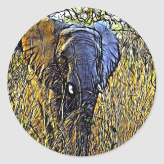 Sticker Rond Éléphant africain d'art animal sauvage de safari