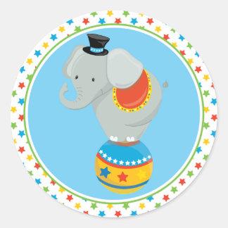 Sticker Rond Éléphant du thème   de cirque sur la boule de