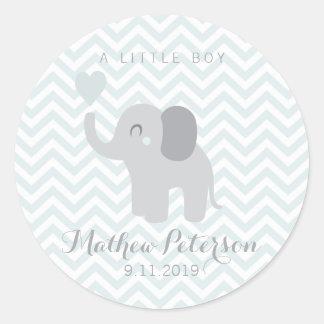 Sticker Rond Éléphant nouveau-né Chevron de garçon de