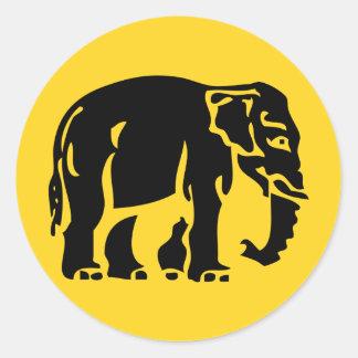 Sticker Rond Éléphants de précaution croisant le ⚠ thaïlandais
