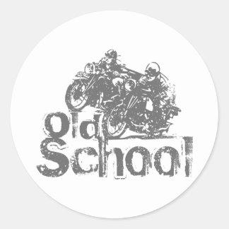 Sticker Rond Emballage de moto de vieille école