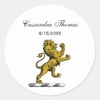 Sticker Rond Emblème debout C de crête de lion héraldique