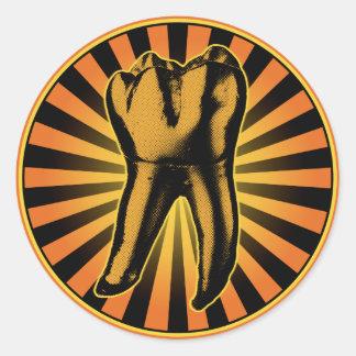 Sticker Rond Emblème graphique de dent