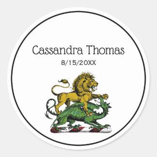 Sticker Rond Emblème héraldique de crête de lion et de dragon