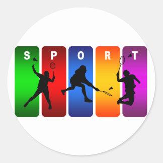 Sticker Rond Emblème multicolore de badminton