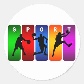 Sticker Rond Emblème multicolore de basket-ball