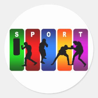 Sticker Rond Emblème multicolore de boxe