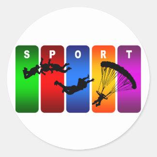Sticker Rond Emblème multicolore de parachutisme